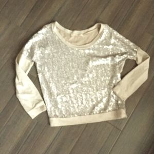 Champagne sequined light sweater